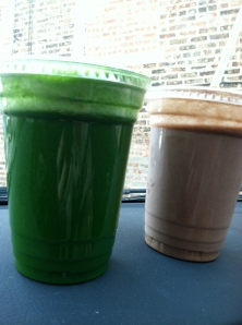 Green Juice and Cacao Mylkshake